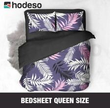 Hodeso Bedsheet Ornamental Plant Queen Size With Two FREE Pillow Case (Violet)