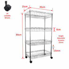 Real Chrome Shelf 84 x 45 x 25 cm Wire Rack Metal Steel Kitchen Racks Caster