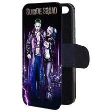 Suicide Squad Harley Quinn and Joker Wallet Flip Mobile Phone Case Cover