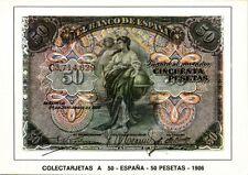 spain, Cincuenta 50 Pesetas 1906, BANKNOTES Modern Money Postcard