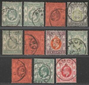 Hong Kong KEVII Selection to 30c Used with AMOY Postmarks