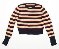 Zara Womens Size M Striped Burgundy Top (Regular)