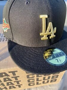 Hat Club Exclusive Dodgers Black Gold 7 1/4 With Pin