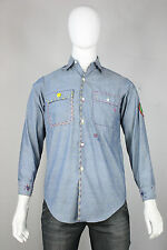 Vintage chambray shirt S penneys big-mac 70's hippie smiley face custom