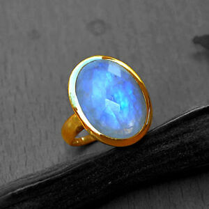 Natural Fire Faceted Rainbow Moonstone Gemstone 14K Yellow Gold Birthstone Ring