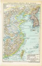 Karte CHINA / OST-CHINA / KOREA / TAIWAN 1894 Original-Graphik