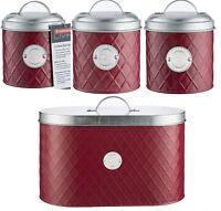 Typhoon Henrik RED Tea Coffee Sugar Set Canister Bread Bin Bread Crock
