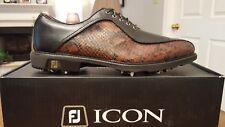 2014 Footjoy FJ ICON Mens Golf Shoes 52308 NEW Blk/Brn Snake 10Med Ian Poulter