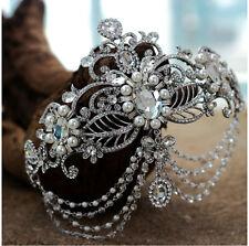 Vintage Wedding Bridal Crystal Pearl Headband Queen Crown Tiara Hair Accessories