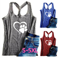 Women Dog Paw Love Tank Tops Dog Mom Shirt T-shirt Sleeveless Top Vest Plus Size