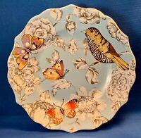 """Pier 1 """"ELENORE BIRD"""" Blue Scalloped Edge Plate Butterflies Bird 8.5"""" New"""