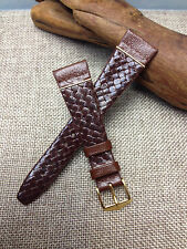 20mm BROWN & GOLD  HIRSCH OXFORD  MODELE DEPOSE  GENUINE LEATHER MENS WATCH BAND