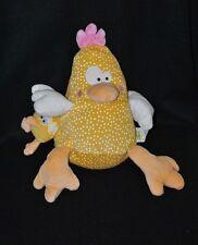 Peluche doudou Emma la poule LIBOO jaune à pois + bébé vibrant 28 cm TTBE
