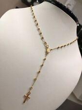Collana girocollo uomo donna rosario croce oro 18 kt gold necklace made in italy