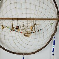 Vintage Handmade Dream Catcher 21x16 w/ Animal Teeth & Bones