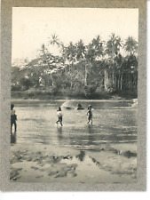 Burma, Scene at the river  Vintage silver print. Myanmar  Tirage argentique d&