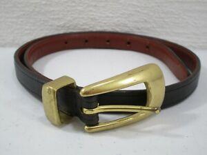 Mens Coach Black Leather Belt Size 28 Brass Buckle