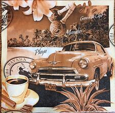 2 single paper Napkins Decoupage Collection Retro Automobile Voyage Travel Cuba
