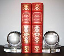 STEUBEN glass ART DECO GLOBE BOOKENDS TEAGUE CARDER Machine Age 1930 moderne orb