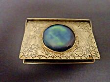 Antique Sterling Silver Rare Snuff Box with Blue Ruskin inlay