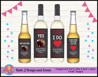 * Personalised Custom ENGAGEMENT PARTY CHALK WINE BOTTLE LABELS GIFT DECORATIONS