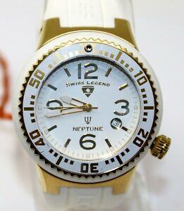 Swiss Legend Mens Neptune White Gold Stainless Steel Swiss Quartz Watch 21848P