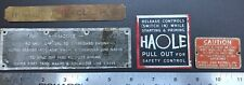 RARE 1940's-1950s LOT 4 BOAT NAMEPLATES TAGS HALE PETERS & RUSSELLS NAUTICAL OEM