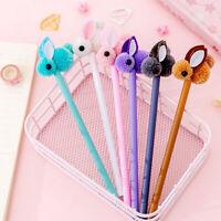 5pcs Plastic Plush Rabbit Gel Pen Kawaii School Stationery Kids Gifts Ink Pen ES