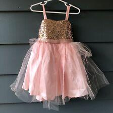 Petite Adele Girls Sz 2 Pink Sequin Tulle Dress