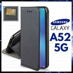 CUSTODIA A PORTAFOGLIO LIBRO per SAMSUNG GALAXY A52 5G COVER FLIP MAGNETICA NERA
