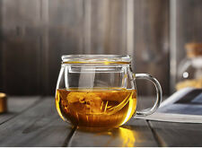 300ml 10 Fl.oz Heatproof Clear Glass Coffee Tea Cup Flower Mug With Infuser