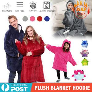 Comfy Blanket Hoodie With Hooded Ultra Plush Sweatshirt Fleece Warm Soft Home AU