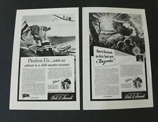 2 Bell & Howell Camera Ads WWII Bazooka Magnavox Rodzinski