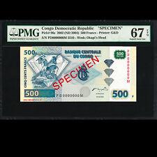 Congo 500 Francs 2002 ND 2004 Specimen PMG 67 SUPERB GEM UNC EPQ P-96s