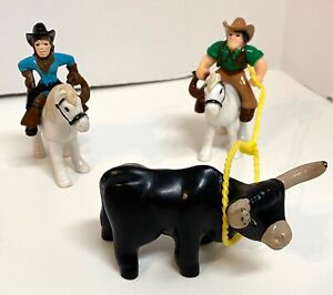 6 Lincoln Logs Figures Cowboy Cowgirl Bull Horses Rope Lot HTF