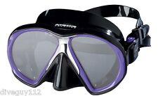 Atomic SubFrame Dive Mask for FreeDiving Scuba Snorkeling Black/Purple