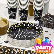 Gold Celebration Adult Age Birthday Party Tableware, Decorations, Balloons