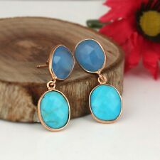 Designer 925 Silver Rose Gold Plated Blue Chalcedony and Turquoise Earrings