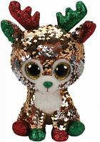 TY FLIPPABLES BEANIE LARGE BUDDY TEGAN REINDEER CHRISTMAS SEQUIN SOFT TOY BNWT
