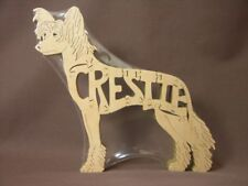 Chinese Crested Crestie Dog Wood Amish Toy Puzzle Art Figurine Wooden