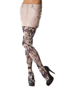 Fashion Model Printed Tights In Grey