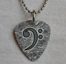Metal Guitar Pick Necklace BASS CLEF bassist player guitar foil silver #1 music