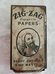 Vintage Zig Zag Cigarette Rolling Papers Store Dispenser Tobacco Tin Advertising