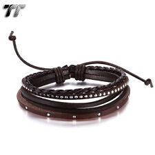 Quality TT Brown Genuine Leather Bracelet Wristband (LB307H) NEW