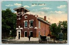 Gillespie Illinois~City Hall~Uniformed Fellow Out Front~Horse Buggy~c1912
