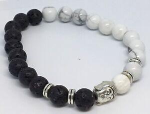 Black Lava Stone & Marble Buddha Head Bracelet Buddhis Hippy Boho Gift J120