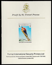 Maldives (481) 1976 Ski Jumping imperf on Format International PROOF  CARD