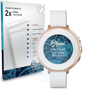 Bruni 2x Protective Film for Pebble Time Round Screen Protector