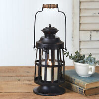 Curtis Island Candle Lantern in Distressed Black Tin