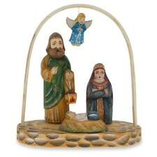 Russian Wooden Hand Carved Nativity Scene Figurines 6.4 Inches